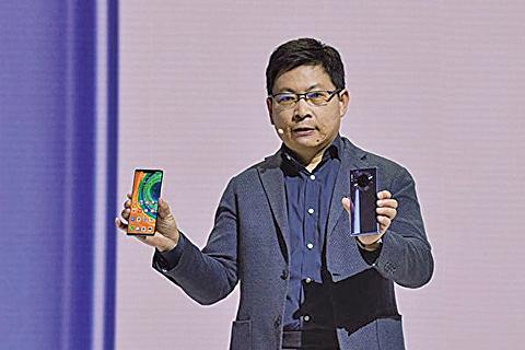 德國慕尼黑當地時間9月19日星期四,中國電信巨頭華為公佈其最新的智能手機Mate30和Mate30Pro。(Getty Images)