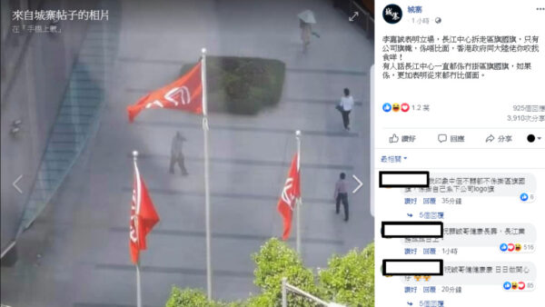網上傳言指,長江集團沒有掛區旗及國旗,是不給面子的做法。(網絡截圖)