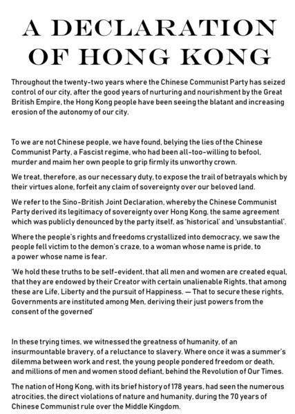 連登刊出消息:午夜零時 宣讀《香港宣言》
