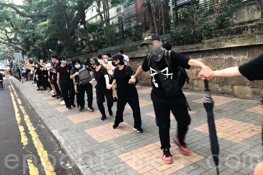 組圖:10.5港民反《禁蒙面法》尖沙咀築人鏈