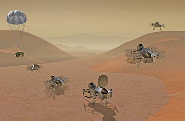 NASA將展開一項名為「蜻蜓」的任務,派無人機在土星最大衛星泰坦,以尋找生命基石,作為探索太陽系的下一項任務。此為NASA發佈的該計劃的藝術設想圖。(NASA)