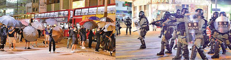 10月4日當晚元朗街上的抗爭者(左)和警察(余天佑/大紀元)