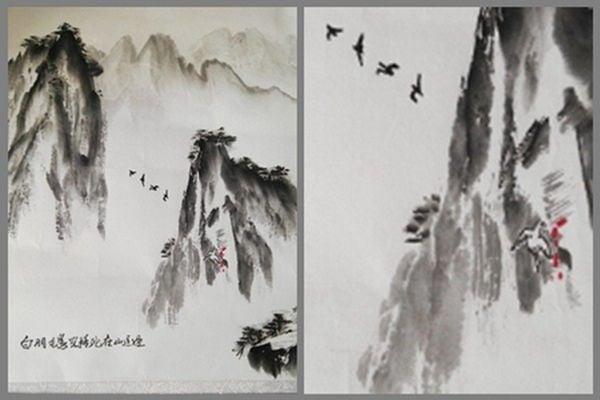 圖畫的下邊寫著一行字:白羽毛鳥兒撞死在山這邊。(網絡圖片)