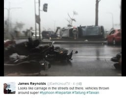颱風尼伯特抵台 老外記者現場直擊狂風暴雨