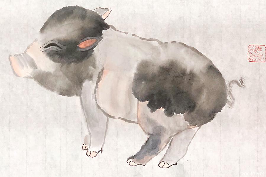 黃憬珩作品。他認為畫國畫不只山水,也可以畫生活見到的事物。這隻代表豬年的豬的墨色部分是一筆而就,因應自然沁化型成頭及身體部分的斑紋。(受訪者提供)