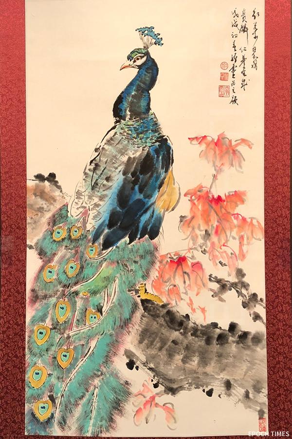 黃憬珩作品。他喜歡畫孔雀,除了代表高貴善良的意思,也有君子愛惜羽毛的寓意。(受訪者提供)