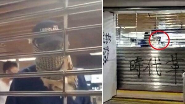 10月8日晚,網上傳出最新疑港警假扮暴徒採取破壞行動的影片。(影片截圖)