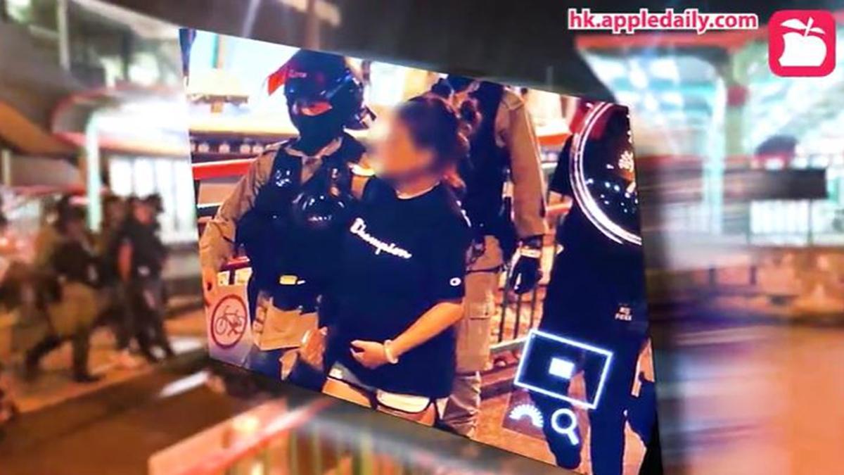 10月7日,一名19歲身穿黑衣的孕婦被港警抓捕,引發港人憤慨和關注。(影片截圖)