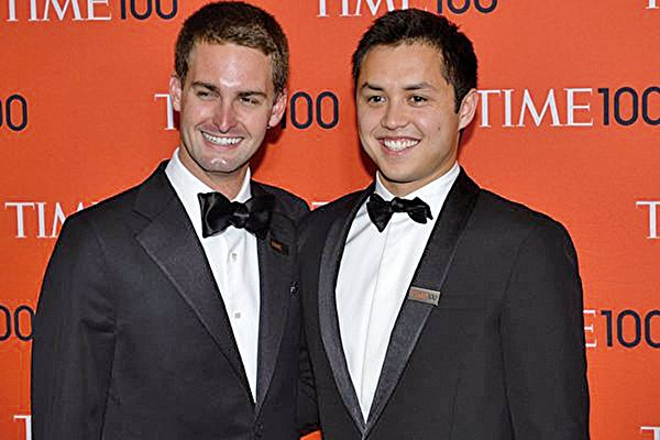 Snapchat聯合創辦人——25歲的埃文斯皮格爾(左)和27歲的鮑比墨菲都在《福布斯》2016年十億級富豪榜單上。(Getty Images)