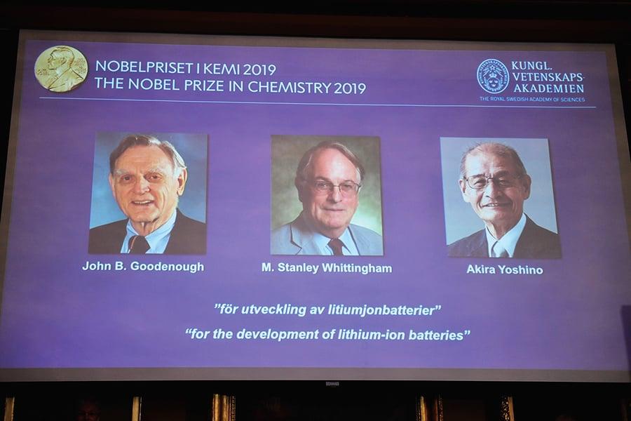 致力發展鋰電池 三科學家獲諾貝爾化學獎
