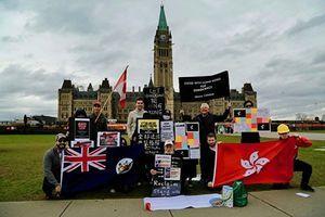 加拿大首都民眾聲援港民反《禁蒙面法》
