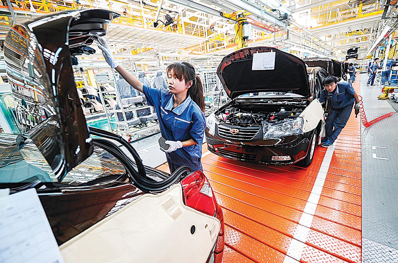 2018年首次出現20年以來的汽車銷量下滑,該趨勢在2019年更加惡化。圖為中國浙江的一家汽車生產線。(Getty Images)