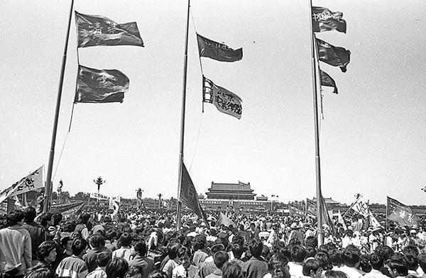 1989年六四期間,北京天安門廣場上聚集的請願學生。