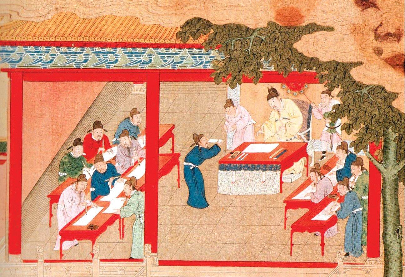 明代繪畫中所描繪的殿試。(公有領域)