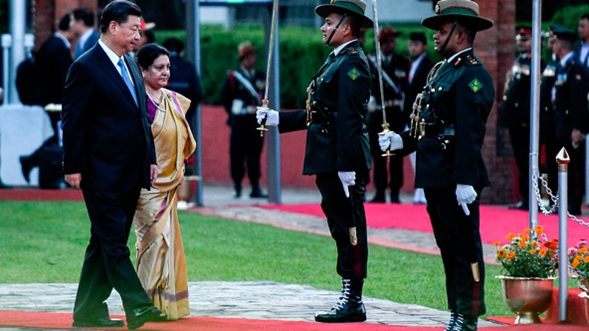 習近平10月12日到訪尼泊爾,罕見談到中共內政。(PRAKASH MATHEMA/POOL/AFP via Getty Images)