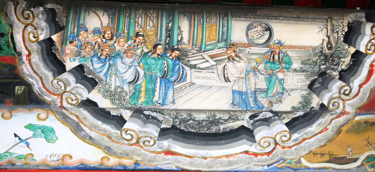 頤和園長廊彩繪中的三國演義故事:江東赴會。(shizhao/維基百科)