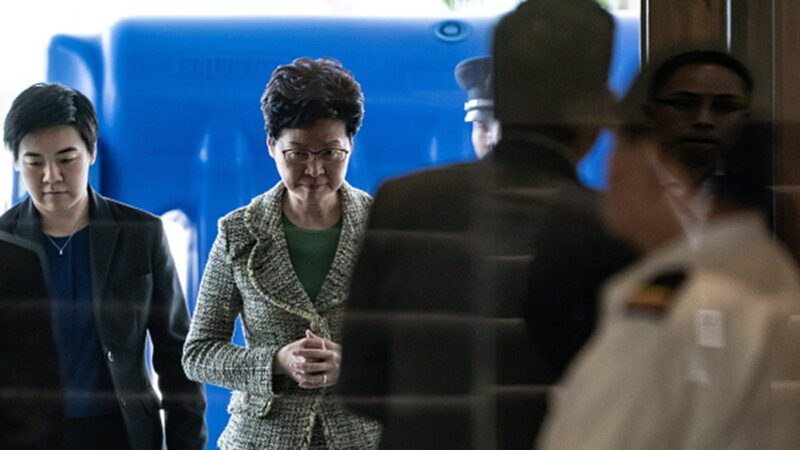 歐盟內部報告顯示,林鄭承認「香港建制派將在即將舉行的區議會選舉嚴重挫敗」。(Anthony Kwan/Getty Images)