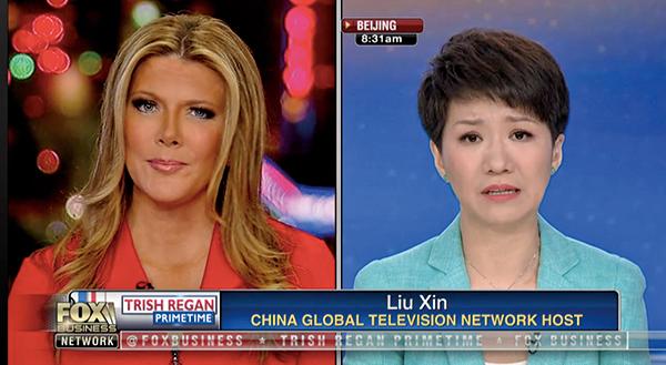 美國當地時間5月29日晚8時,霍士商業網絡電視女主播列根(Trish Regan)(左)與中共央視英文(CGTN)女主播劉欣(右)的辯論在霍士電視台進行,兩人就貿易話題進行現場辯論。(Fox Business Network截圖)