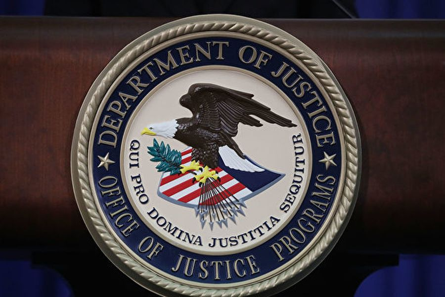 美國司法部標誌。(Mark Wilson/Getty Images)