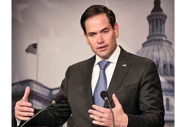 美國會議員今年8月敦促最大的政府養老基金撤銷投資中國企業的決定,認為投資會面臨「嚴重且未披露」的風險。圖為參議員盧比奧。(AFP)