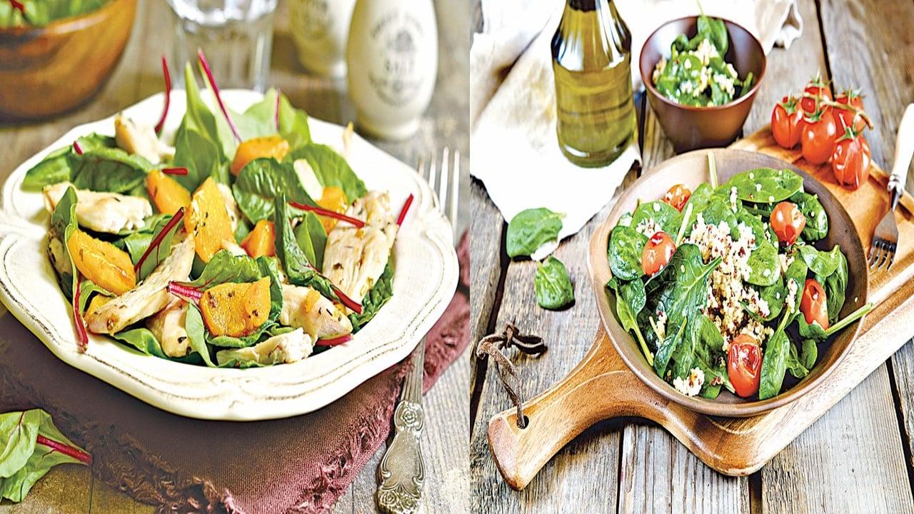 低熱量、高營養的瑞士甜菜,維他命K含量高。菠菜是蔬果沙律常用的配菜,含有多種維他命和營養物質。