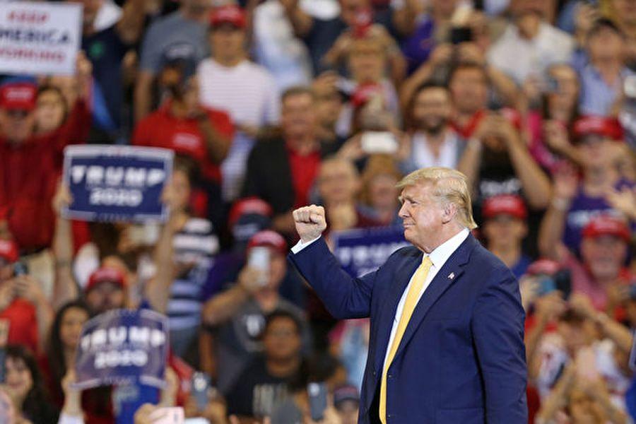 10月11日,美國總統特朗普在路易斯安娜州舉行連任競選集會。(Matt Sullivan/Getty Images)