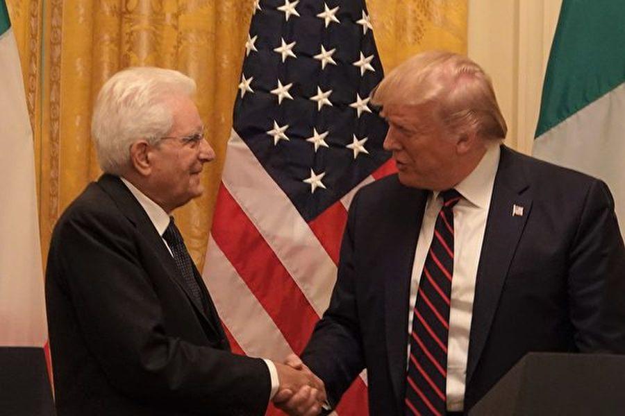 10月16日,美國總統特朗普在白宮會晤到訪的意大利總統馬塔雷拉(Sergio Mattarella)。(亦平/大紀元)