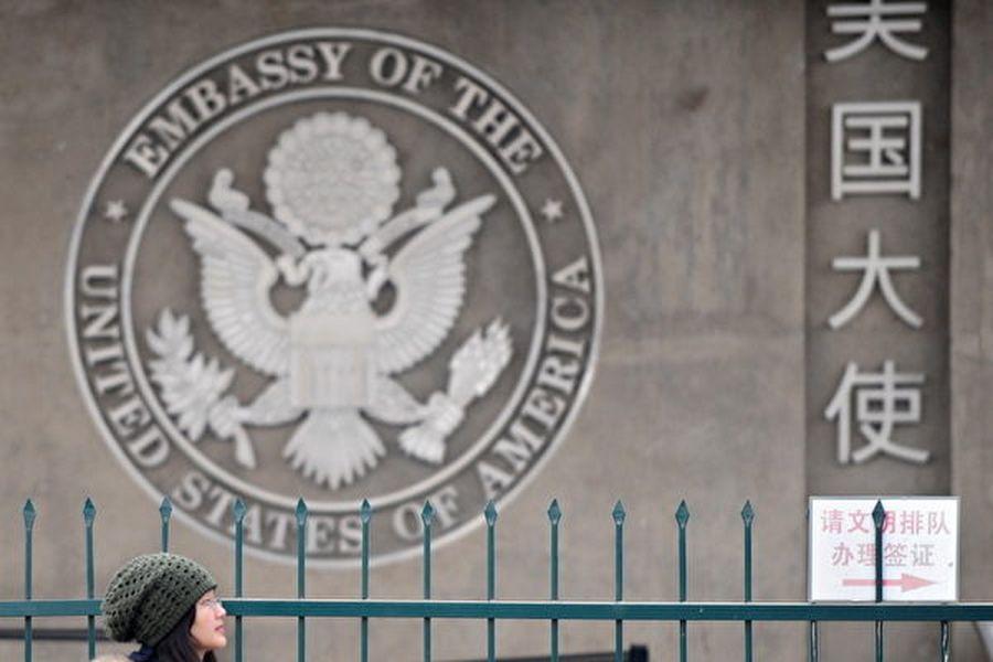 圖為美國駐華大使館。(AFP PHOTO/Frederic J. BROWN)