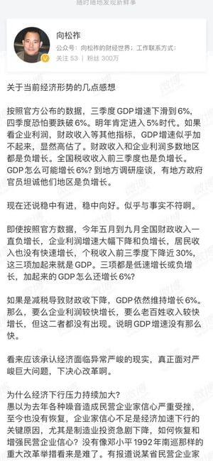 向松祚公開質疑中共官方GDP造假。(網頁截圖)