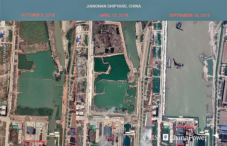 衛星照片顯示位於上海江南造船廠的航母。(網絡截圖)