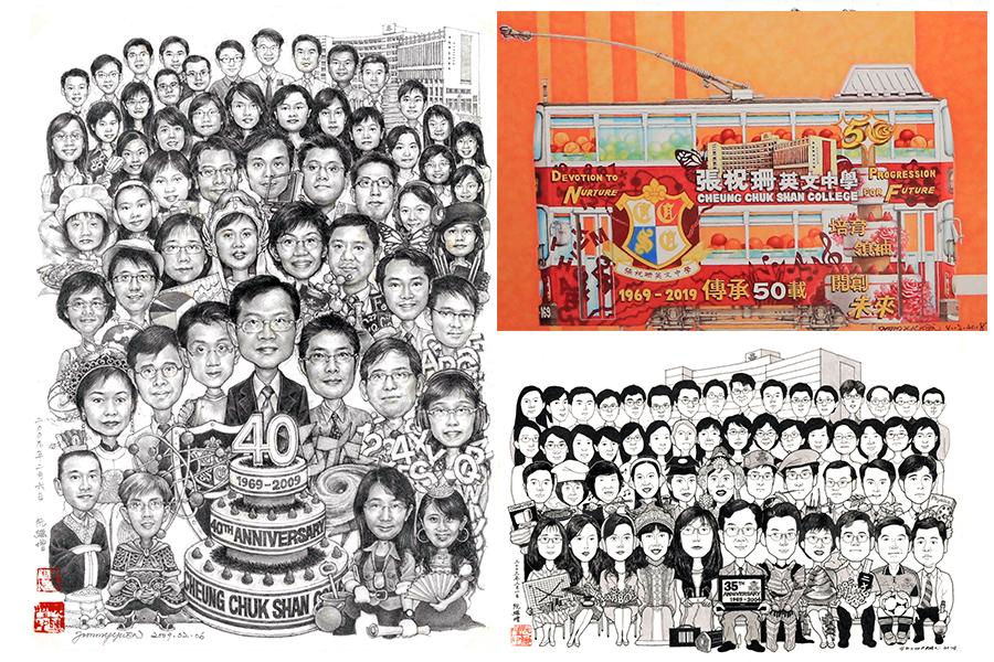阮繼增在母校張祝珊英文中學校慶時應邀作畫。(受訪者提供)