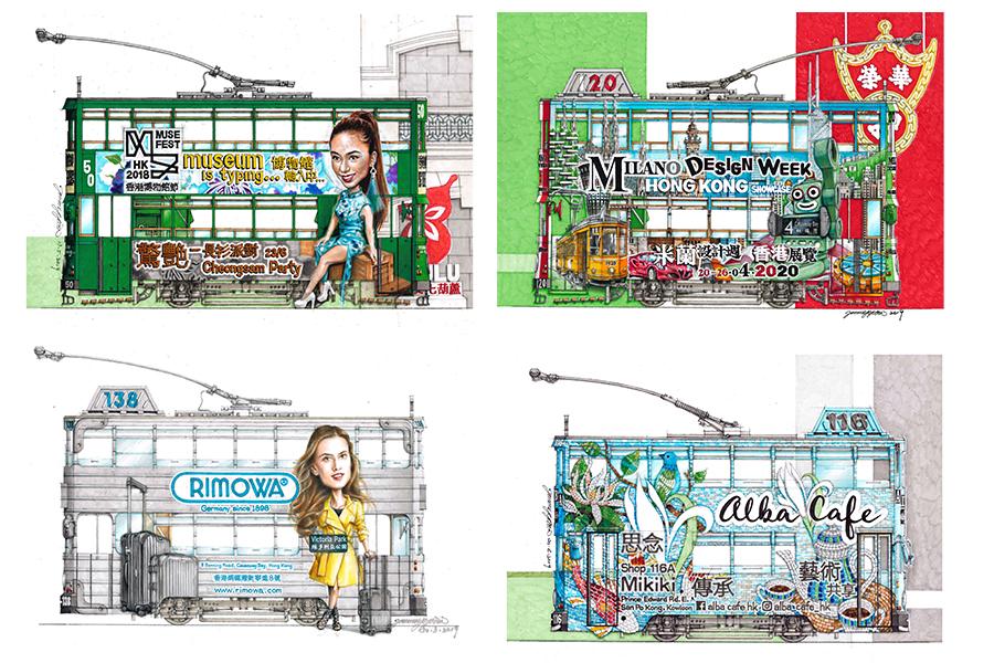 阮繼增創作的「電車畫」。(受訪者提供)