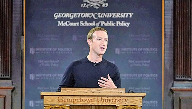 臉書行政總裁朱克伯格10月17日在華盛頓特區的佐治城大學發表關於言論自由的演講。(Getty Images)