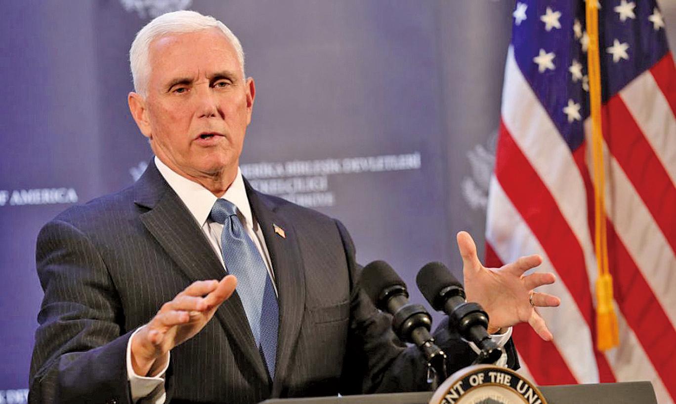 圖為美國副總統彭斯正在進行演講。(AFP)