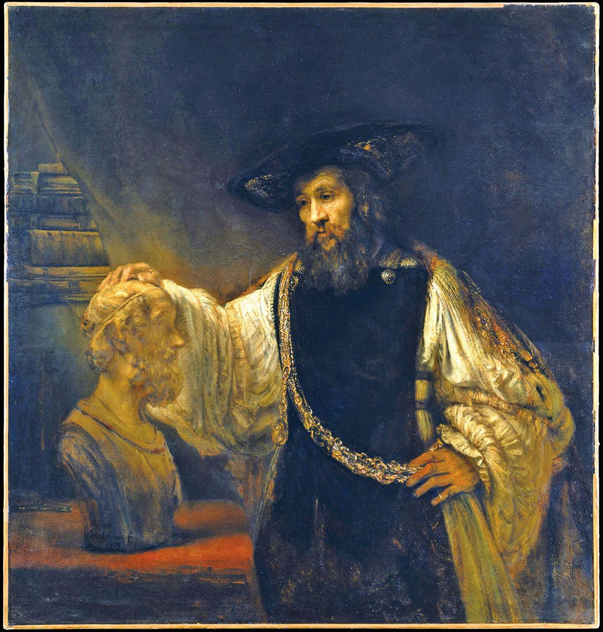 林布蘭1653年作品《亞里士多德與荷馬的半身像》,藏於紐約大都會博物館。(公有領域)