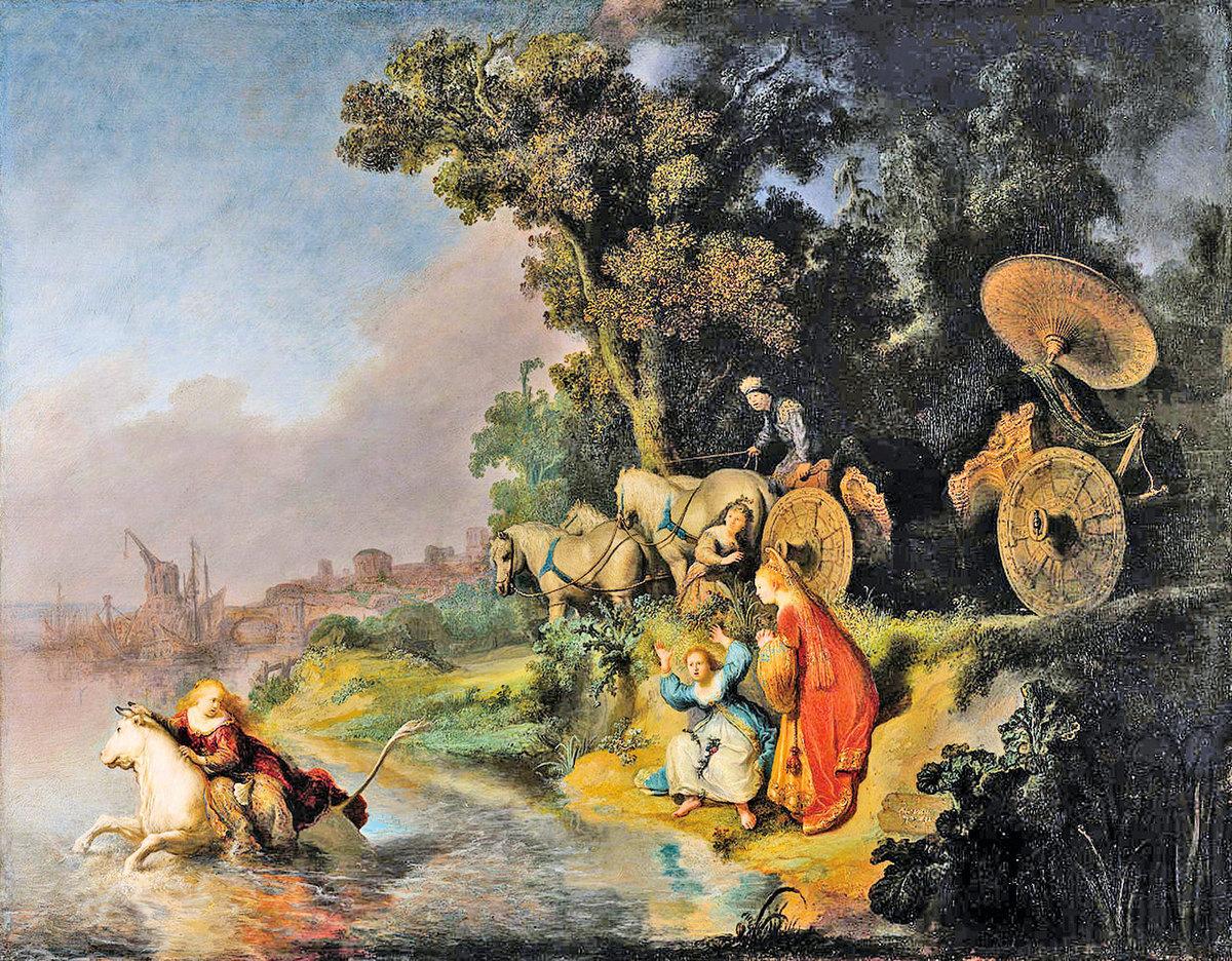 林布蘭1632年作品《綁架歐羅巴》The abduction of Europa,被描述為巴洛克繪畫「黃金時代」的典範。(公有領域)