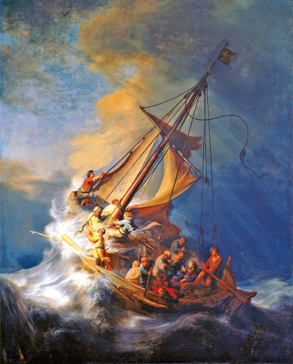 林布蘭1633年作品《加利利海上的風暴》。1990年在伊莎貝拉•斯圖爾特•加德納博物館(Isabella Stewart Gardner Museum)被偷竊。(公有領域)