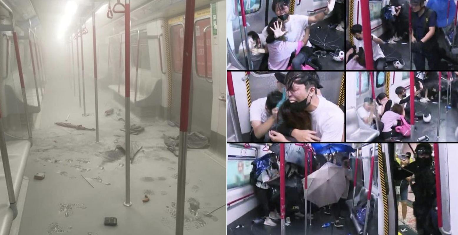 8月31日在太子站,迅龍小隊和防暴警察衝擊月台和車廂對乘客進行無差別攻擊,事件恐怖性震驚香港和世界。(網絡圖片)