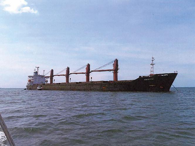 這艘北韓貨船「智誠號」(Wise Honest)(圖),於2018年4月首次在印尼被外國海事當局沒收。(AFP)