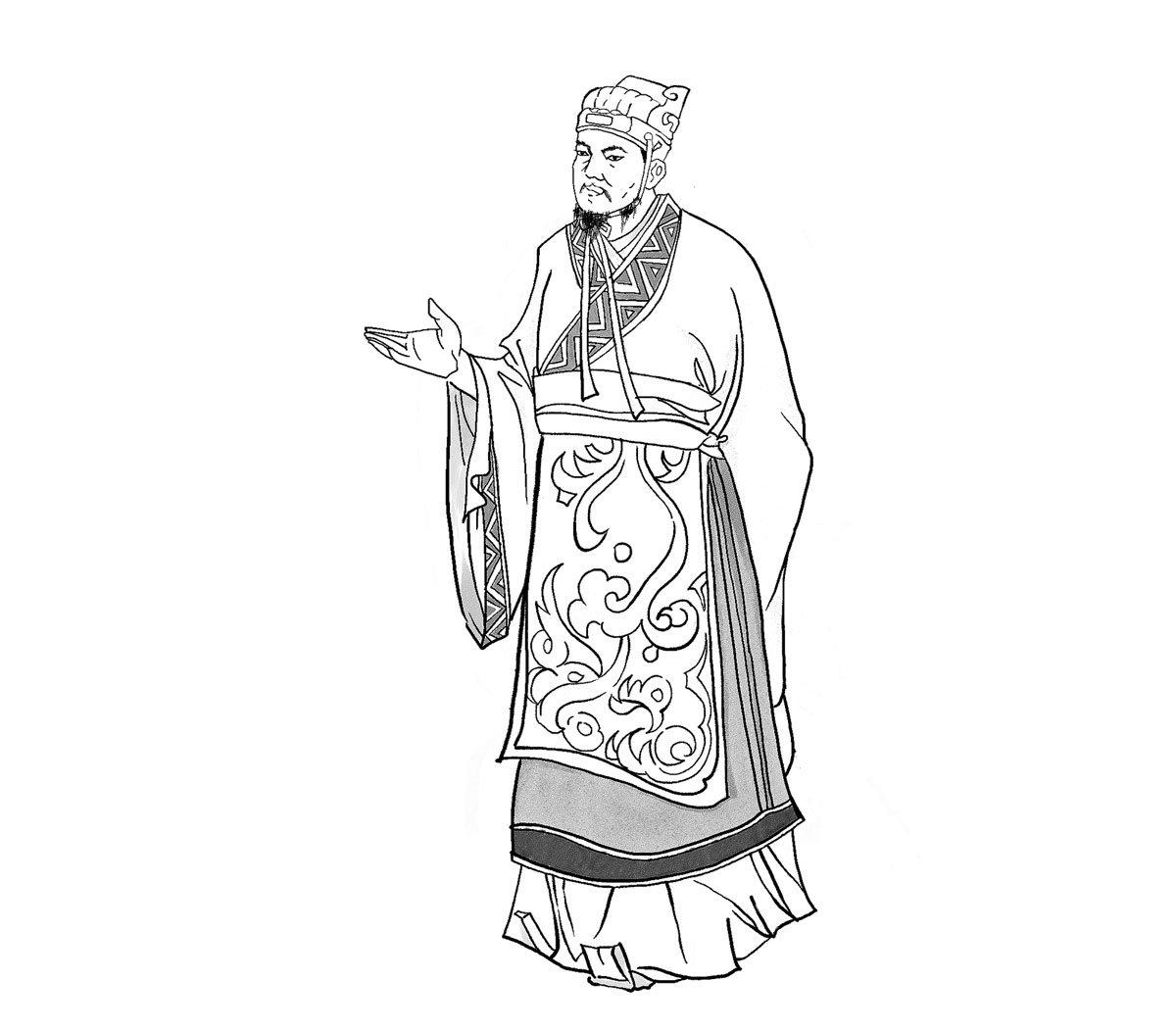 秦始皇死後,左丞相李斯為保身,與趙高合謀易儲,後被趙高所害,誅滅三族。