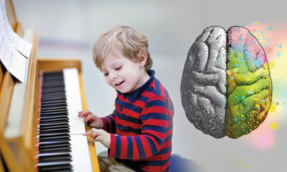 University of Liverpool 的一項研究表明,年輕時學習演奏樂器會增加大腦左半球的血液流動,這對於小朋友的大腦發育非常有用。(Illustration – Shutterstock)