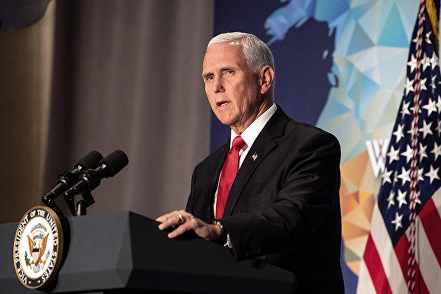 美國副總統麥克・彭斯10月24日在華府智囊威爾遜中心舉行的首屆弗雷德・馬勒克公共服務領袖講座上發表第二次對華演講。(Photo by NICHOLAS KAMM/AFP)