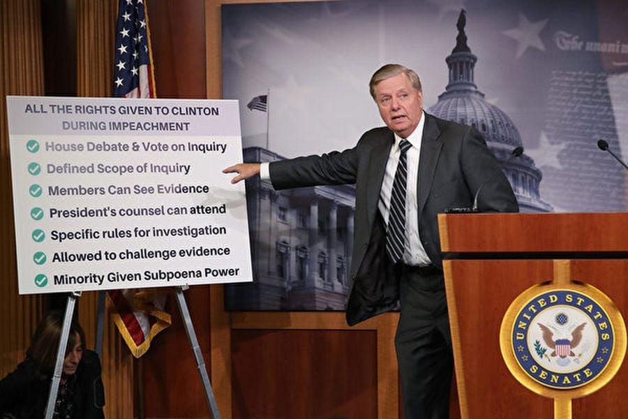 華盛頓DC,2019年10月24日,參議院司法委員會主席林賽・格雷厄姆在華盛頓國會大廈發佈決議,譴責眾議院對唐納德・特朗普總統的彈劾。(Mark Wilson/Getty Images)