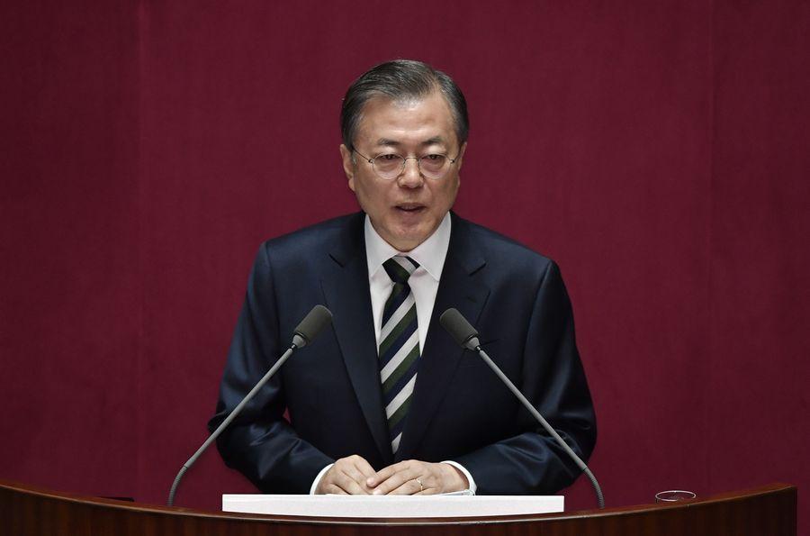南韓決定放棄WTO開發中國家地位。圖為南韓總統文在寅。(JUNG YEON-JE/pool/AFP)