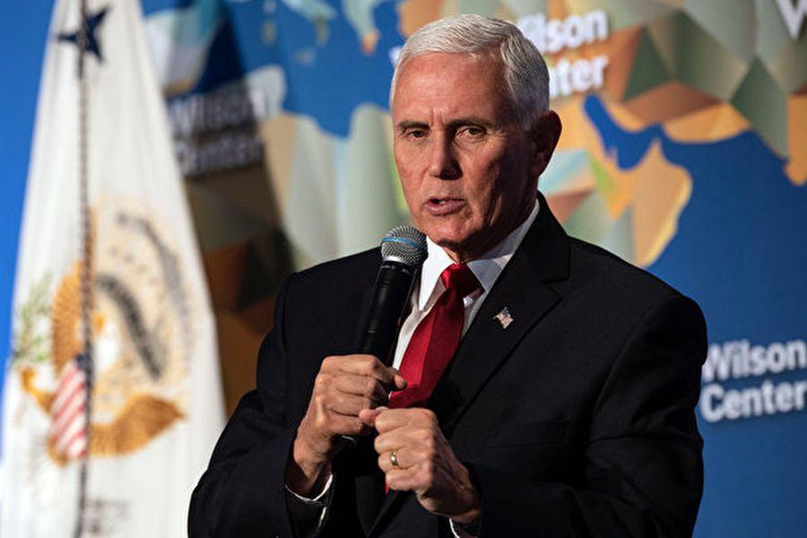 美國副總統彭斯10月24日在華府智囊威爾遜中心(Wilson Center)發表演講。(NICHOLAS KAMM/AFP)