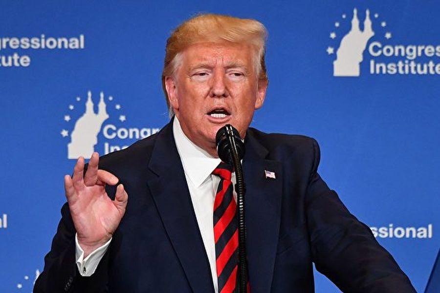 特朗普在2019年9月12日的共和黨晚餐會上的演講中表示,中共一心指望民主黨的拜登能在2020年當上總統。(AFP)