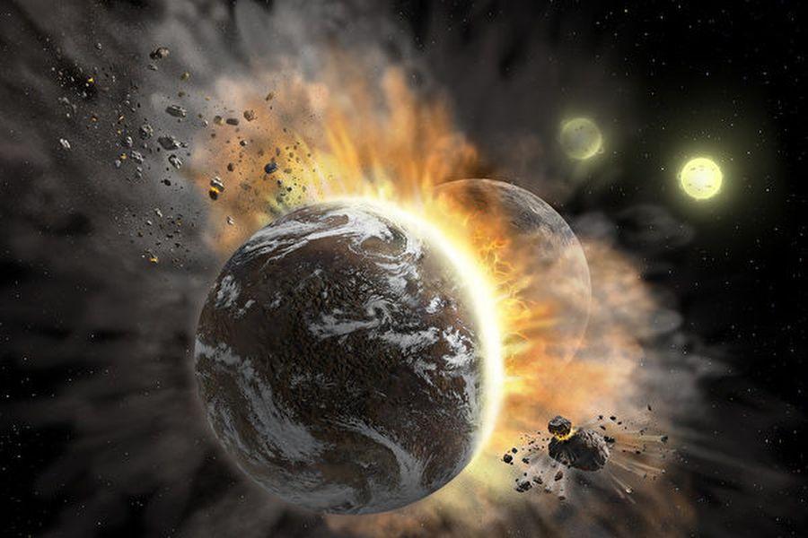 行星碰撞想像圖。(Credit: NASA/SOFIA/Lynette Cook)