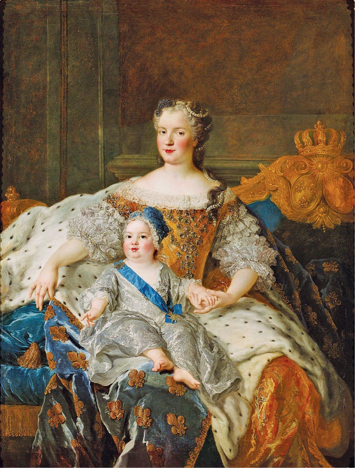 法國女王瑪麗•萊什琴斯卡和多芬•路易•費迪南德肖像。Alexis-Simon Belle於1730年繪製。 布面油畫。 凡爾賽宮國家博物館特里亞農宮收藏。 (克里斯托弗•福因/凡爾賽宮(RMN-GP))