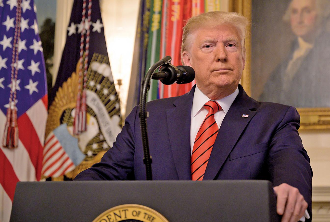 10月27日,美國總統特朗普在白宮舉行新聞發佈會,宣佈伊斯蘭國(ISIS)頭目巴格達迪已經在美軍的突擊行動中死亡。(AFP)