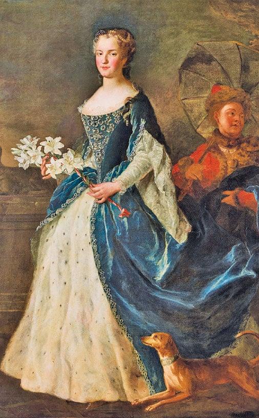 """亞歷克西斯 """"西蒙 """"貝萊(Alexis-Simon Belle),1725年繪製的法國王后瑪麗 """"萊什琴斯卡(Marie Leszczynska) 布面油畫。 凡爾賽宮國家博物館收藏。 (克里斯托弗 """"福因/凡爾賽宮(RMN-GP)"""